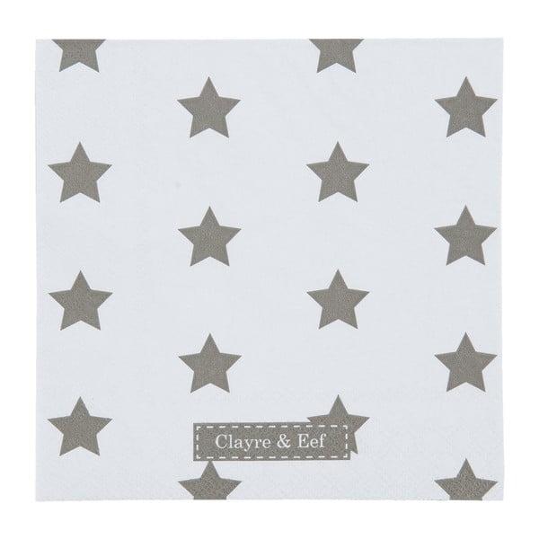 Biele obrúsky Clayre & Eef Xmas Star, 20ks