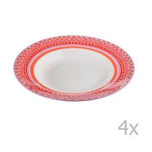 Sada 4 porcelánových tanierov na polievku Oilily 24,5 cm, červená