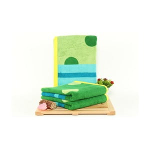 Sada 3 zeleno-modrých osušiek Punkte Grass, 50x100cm