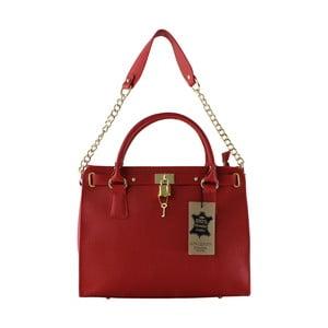 Červená kožená kabelka Anne