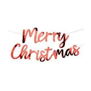 Červená závesná vianočná papierová girlanda Neviti Merry Christmas, dĺžka 2 m
