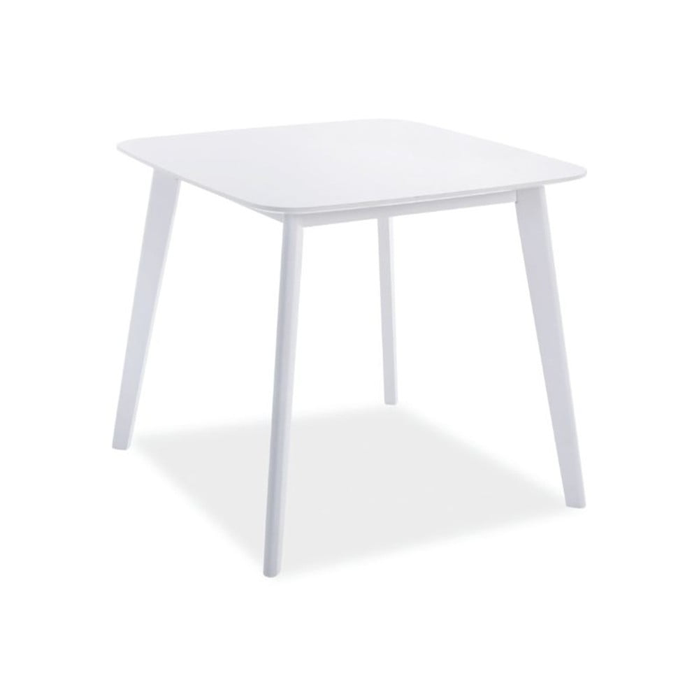 Biely stôl s nohami z kaučukového dreva Signal Sigma, 80 × 80 cm
