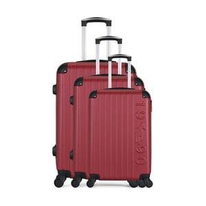 Sada 3 vínových cestovných kufrov na kolieskach GENTLEMAN FARMER Cadenas Integre