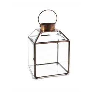 Sklenený lampáš s kovovým rámom Moycor Bisel, výška 20 cm