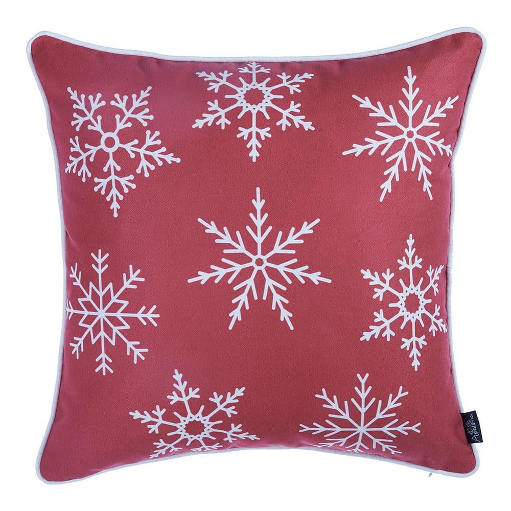 Červená obliečka na vankúš s vianočným motívom Apolena Honey Snow, 45 × 45 cm
