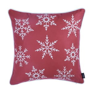 Červená obliečka na vankúš s vianočným motívom Apolena Honey Snow, 45×45 cm