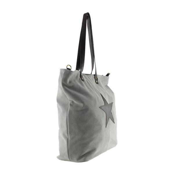 Sivá kožená kabelka Chicca Borse Asterisco