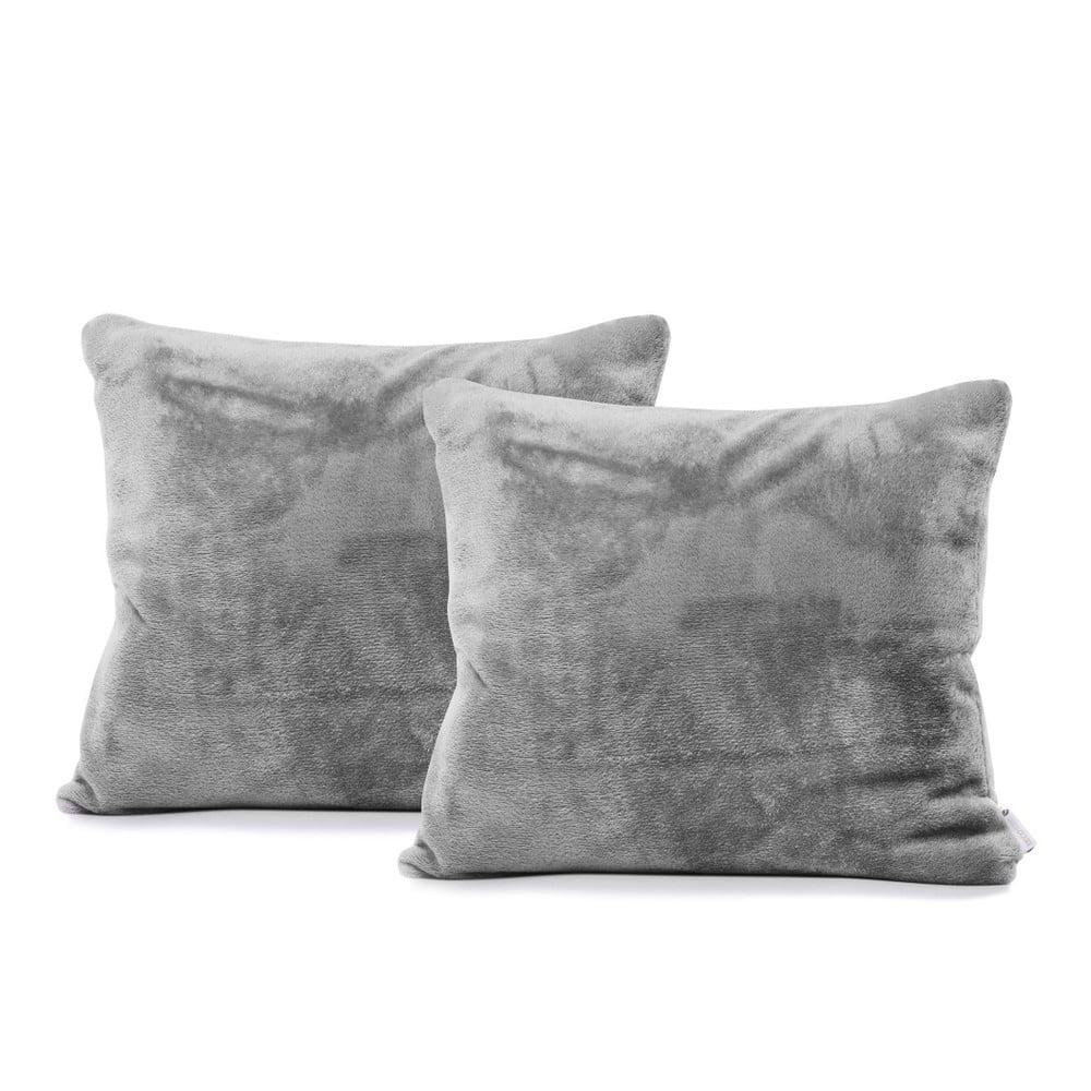 Sada 2 sivých obliečok na vankúše DecoKing Mic, 45 × 45 cm
