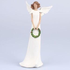 Biely dekoratívny anjel s vencom Dakls