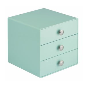 Mätovozelený úložný box s 3 zásuvkami InterDesign Drawers, výška 16,5 cm
