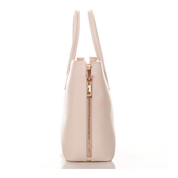 Béžová kožená kabelka Federica Bassi Saffiano
