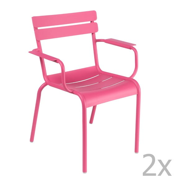 Sada 2 ružových stoličiek s opierkami na ruky Fermob Luxembourg