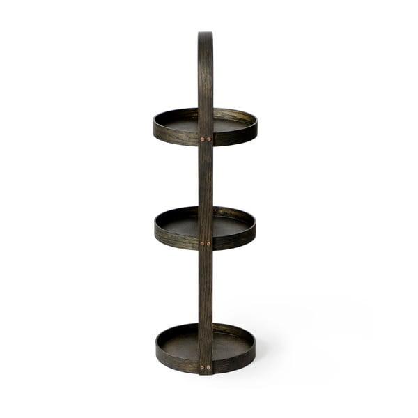 Drevený stojan do kúpeľne Wireworks Round Caddy Dark, 3 police