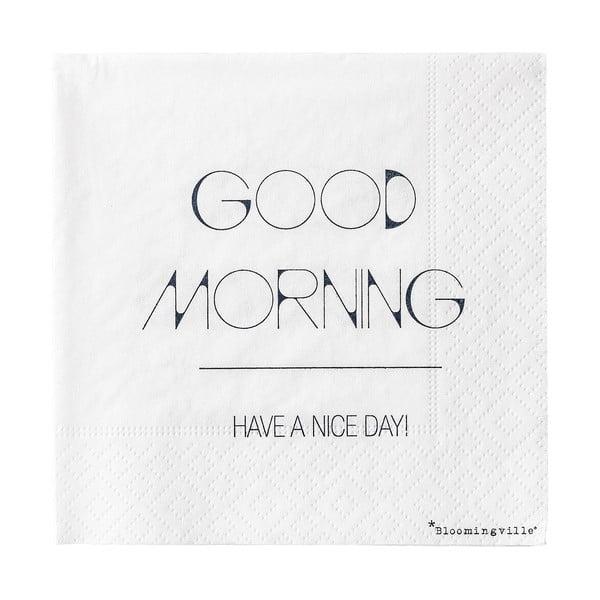 Sada 20 papierových utierok Bloomingville Good Morning, 25 x 25 cm