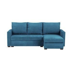 Modrá trojmiestna rohová rozkladacia pohovka s úložným priestorom Melart Andy