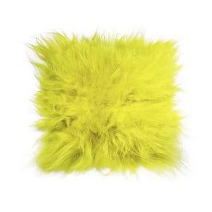 Žltý podsedák z jahňacej kože s dlhým vlasom Arctic Fur Saddo, 37 × 37 cm
