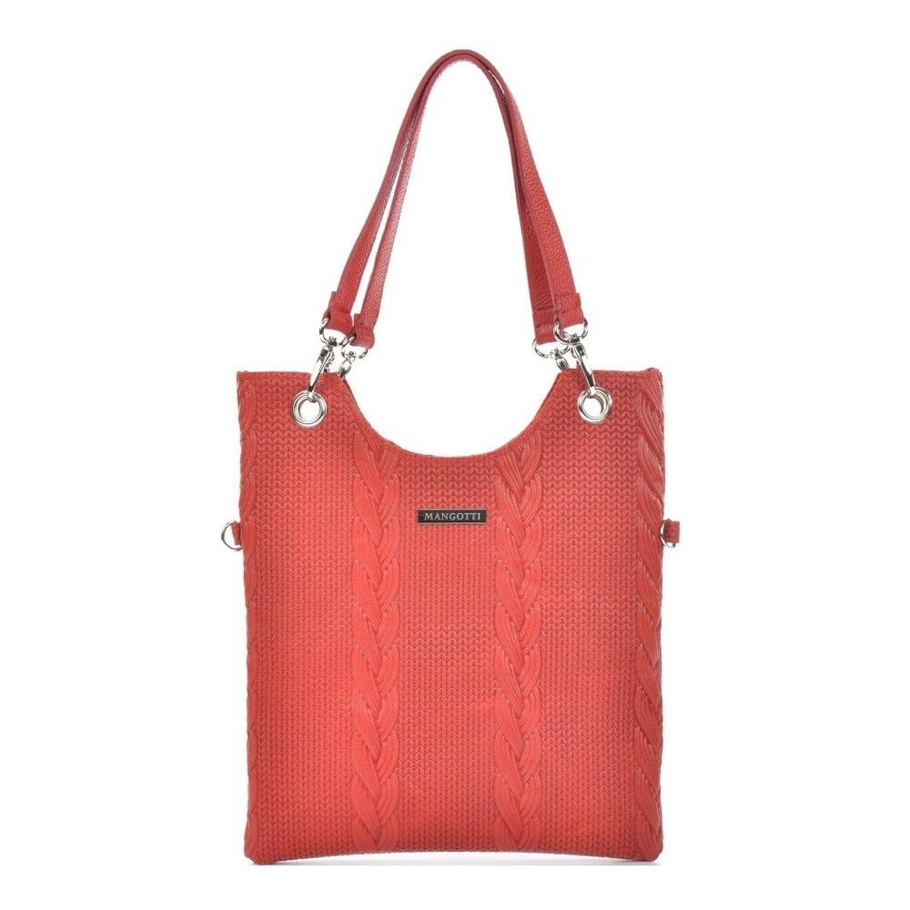 Červená kožená kabelka Mangotti Bags Maria