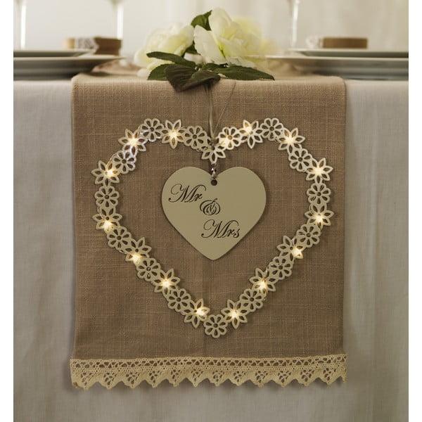 Svadobná dekorácia s LED svetielkami Heart