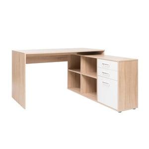 Rohový pracovný stôl v dekore dubového dreva s bielymi detailmi Intertrade London