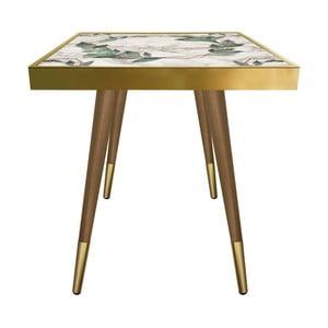 Príručný stolík Caresso Green Marble Leafes Square, 45 × 45 cm