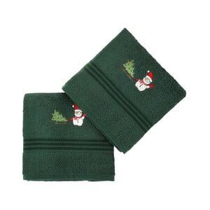 Sada 2 uterákov Corap Green Snowman, 50x90 cm