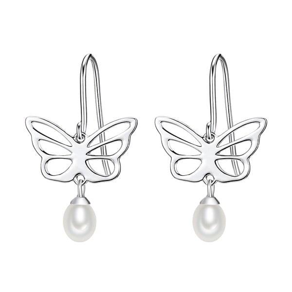 Strieborné náušnice s bielou perlou Chakra Pearls Butterfly