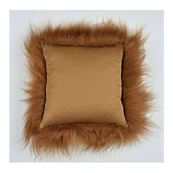 Hnedý kožušinový vankúš s dlhým vlasom, 35x35cm