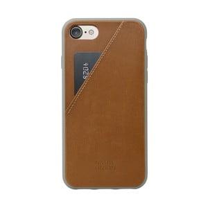 Hnedý kožený obal na mobilný telefón s priehradkou na kartu pre iPhone 7 a 8 Native Union Clic Clac