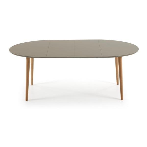Sivý rozkladací jedálenský stôl La Forma Oakland, 120-200 cm