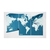 Modrá nástenná mapa sveta Palomar Pin World XL, 198×124cm