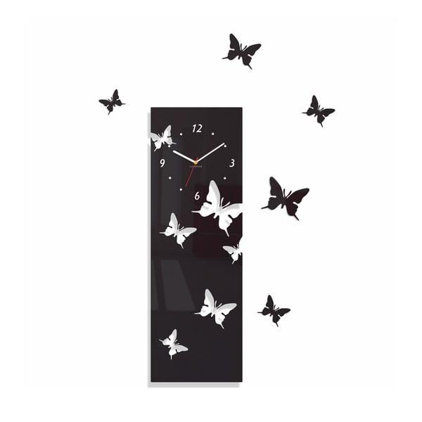 Hodiny z plexiskla Butterflies Away Black