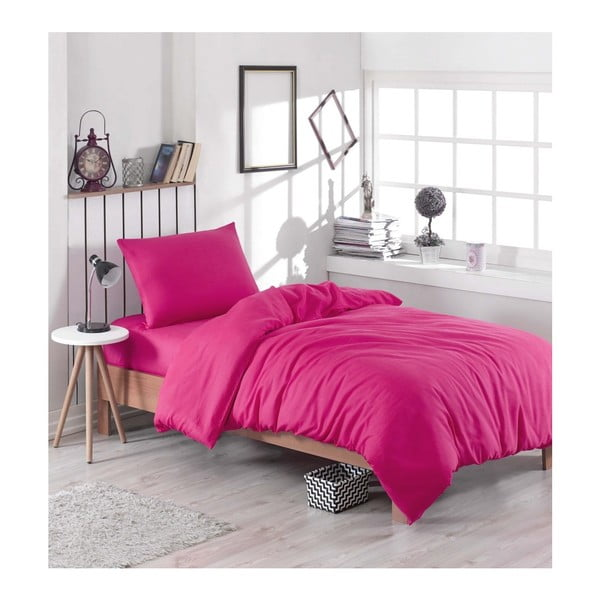 Ružové obliečky s plachtou na jednolôžko Rose, 160 × 220 cm