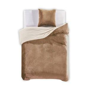 Béžové obliečky z mikrovlákna DecoKing Teddy, 135×200cm