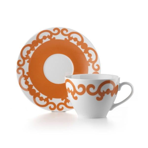 Hrnček s tanierikom Arabesco Orange