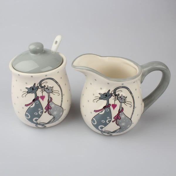 Set keramickej nádoby namlieko a cukorničky Dakls Cats Couple
