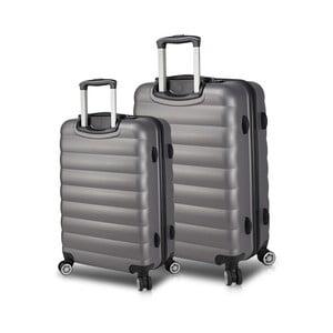 Sada 2 sivých cestovných kufrov na kolieskach s USB porty My Valice RESSNO Large & Medium