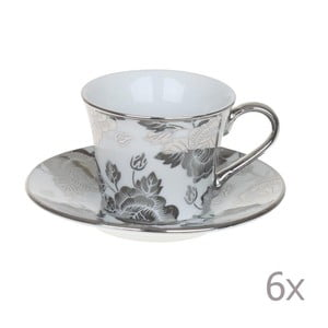 Set hrnčekov Coffee Silver Flowers, 6 ks