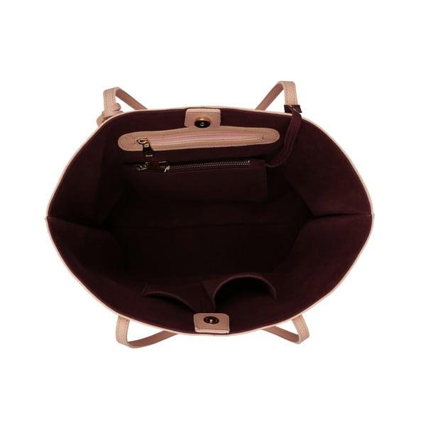 Pudrovoružová kabelka s tmavočerveným vnútrom Beverly Hills Polo Club Celeste