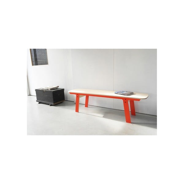 Oranžová lavica na sedenie rform Slim 01, dĺžka 165 cm