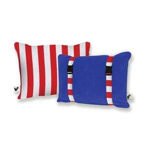 Modrý obojstranný plážový vankúš Origama Red Stripes