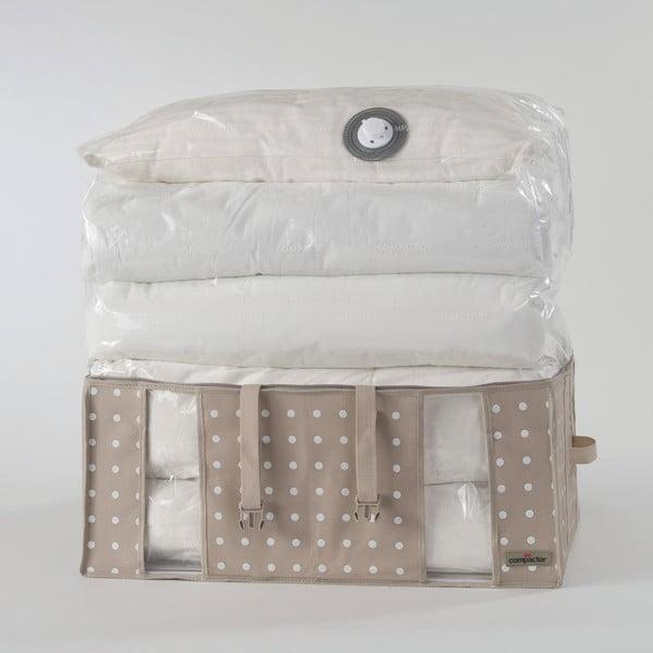 Béžový úložný box s vákuovým obalom Compactor Rivoli, šírka 65 cm