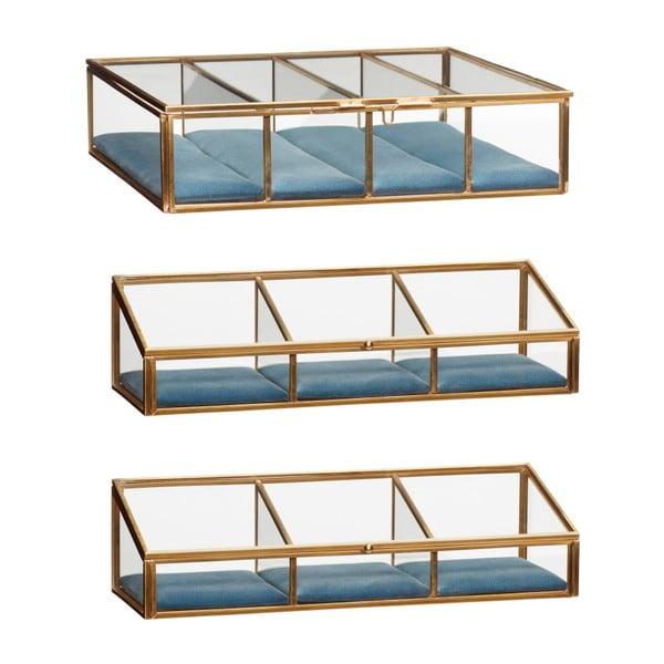 Sada 3 presklených úložných boxov s mosadznou výstielkou Hübsch Azulo
