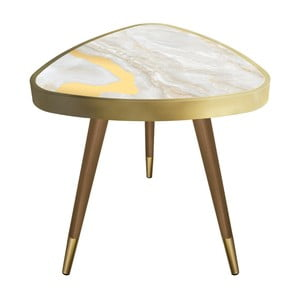 Príručný stolík Maresso Golden Marble Triangle, 45 × 45 cm