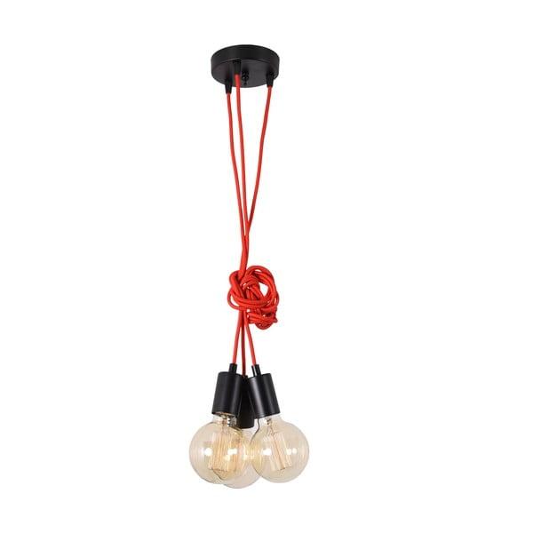 Červené trojité závesné svetlo Filament Style Spider