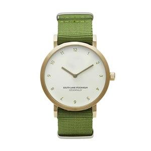 Unisex hodinky so zeleným remienkom South Lane Stockholm Sodermalm Gold Big