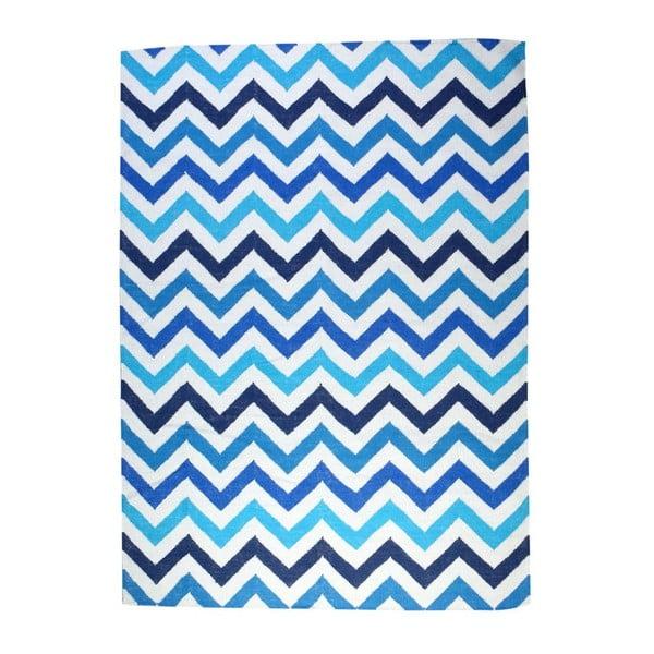 Vlnený koberec Geometry Zic Zac Blue Mix, 160x230 cm