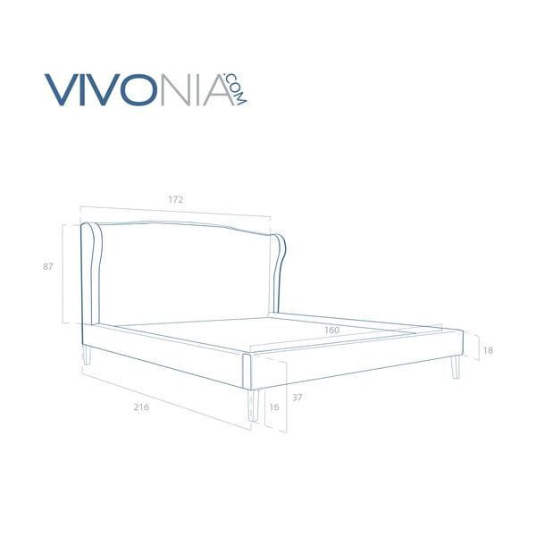 Pastelovoružová posteľ VIVONITA Windsor 160x200cm, prírodné nohy