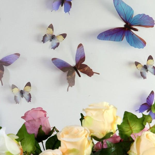 Trojrozmerné samolepky motýlikov Walplus Streak Butterfly Blue