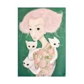Autorský plagát od Lény Brauner Slečna s malvíny, 44x60 cm