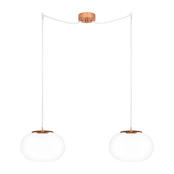 Dvojité svietidlo Dosei Elementary, opal matte/copper/white/copper